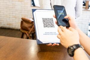 Contactless menu with a qr code at a restaurant